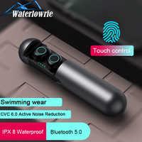 Waterlowrie casque sans fil Bluetooth 5.0 écouteurs 3D stéréo Hifi casque IPX5 étanche Sport écouteurs avec micro boîte de charge