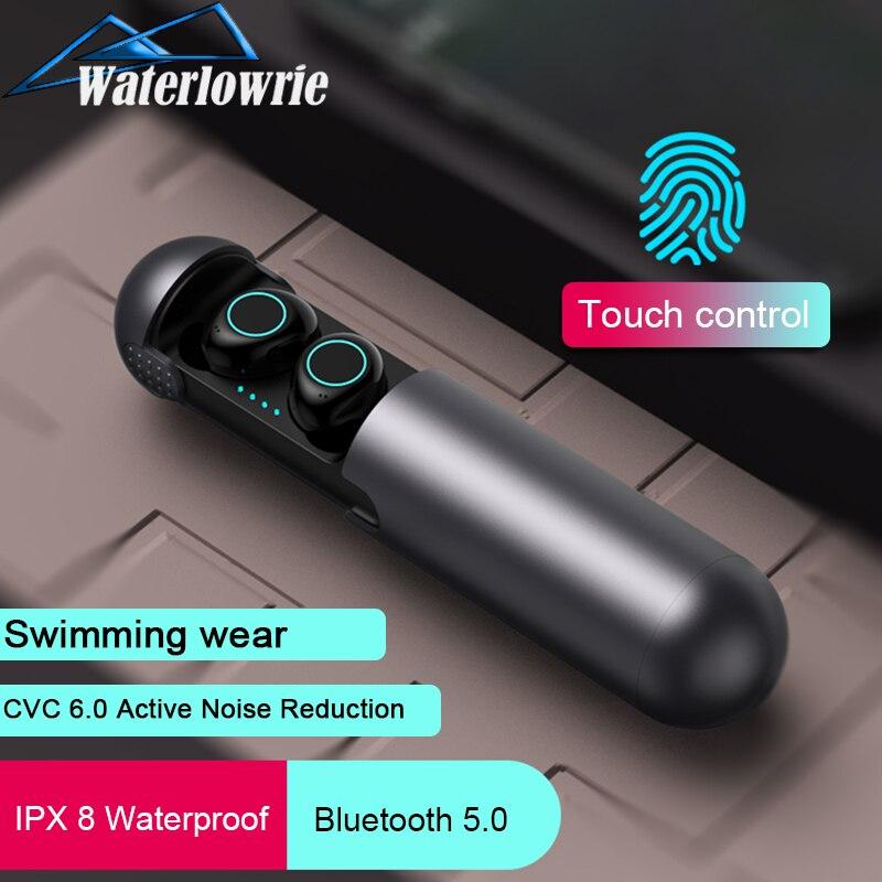 Waterlowrie ecouteur sans fil Bluetooth 5.0 casque 3D stéréo Hifi casque IPX5 étanche Sport écouteurs avec micro boîte de charge