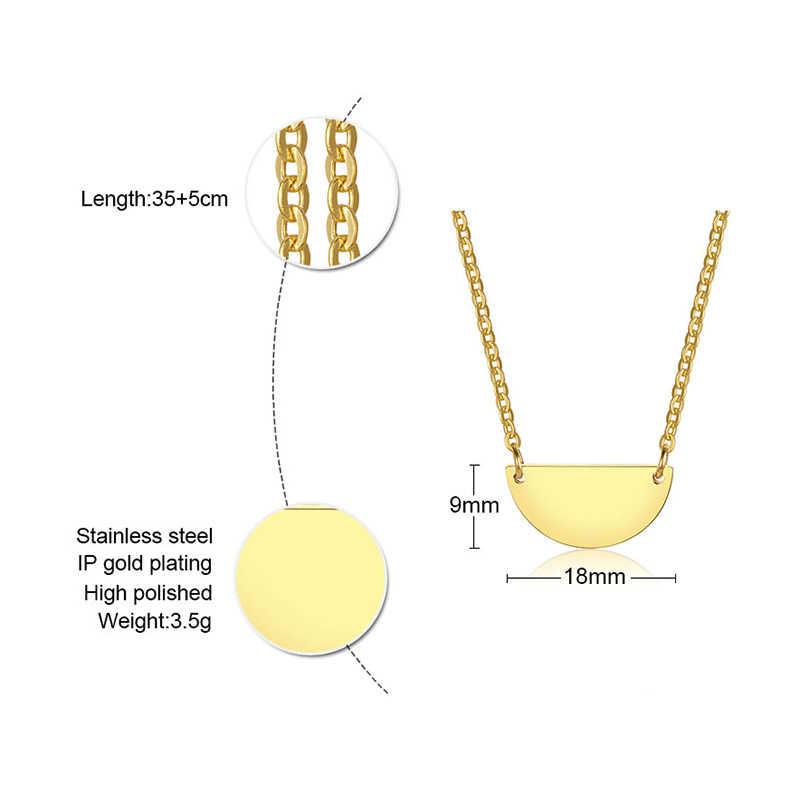 Vnox Custom Half Moon Necklace Glossy Stainless Steel Personalize Semicircle Geometric Women Choker Gold Tone Jewelry