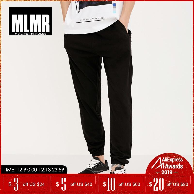 MLMR Spring Autumn Men Loose Pants Black Bottom-tied Drawstring Pure Sports And Leisure Pants Men Trousers | 218314505