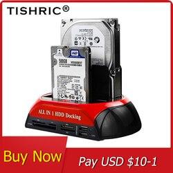 Tishric Semua Dalam 1 HDD Docking Stasiun E SATA Ke USB 2.0/3.0 Adaptor untuk 2.5/3.5 Hard Disk drive Docking Stasiun Hard Kandang