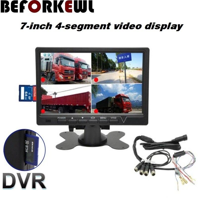 """7 """"ips scherm 1024*600 AHD авто монитор 4 Разделенный экран безопасности мониторинг Rijden рекордер DVR"""