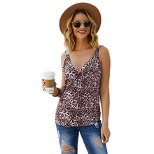 2020 Zomer Sexy Leopard Tank Casual vrouwen Vest Tops Trendy Vest Mouwloos Riem Tank Hemden V-hals Clubwear Tank Mujer(China)