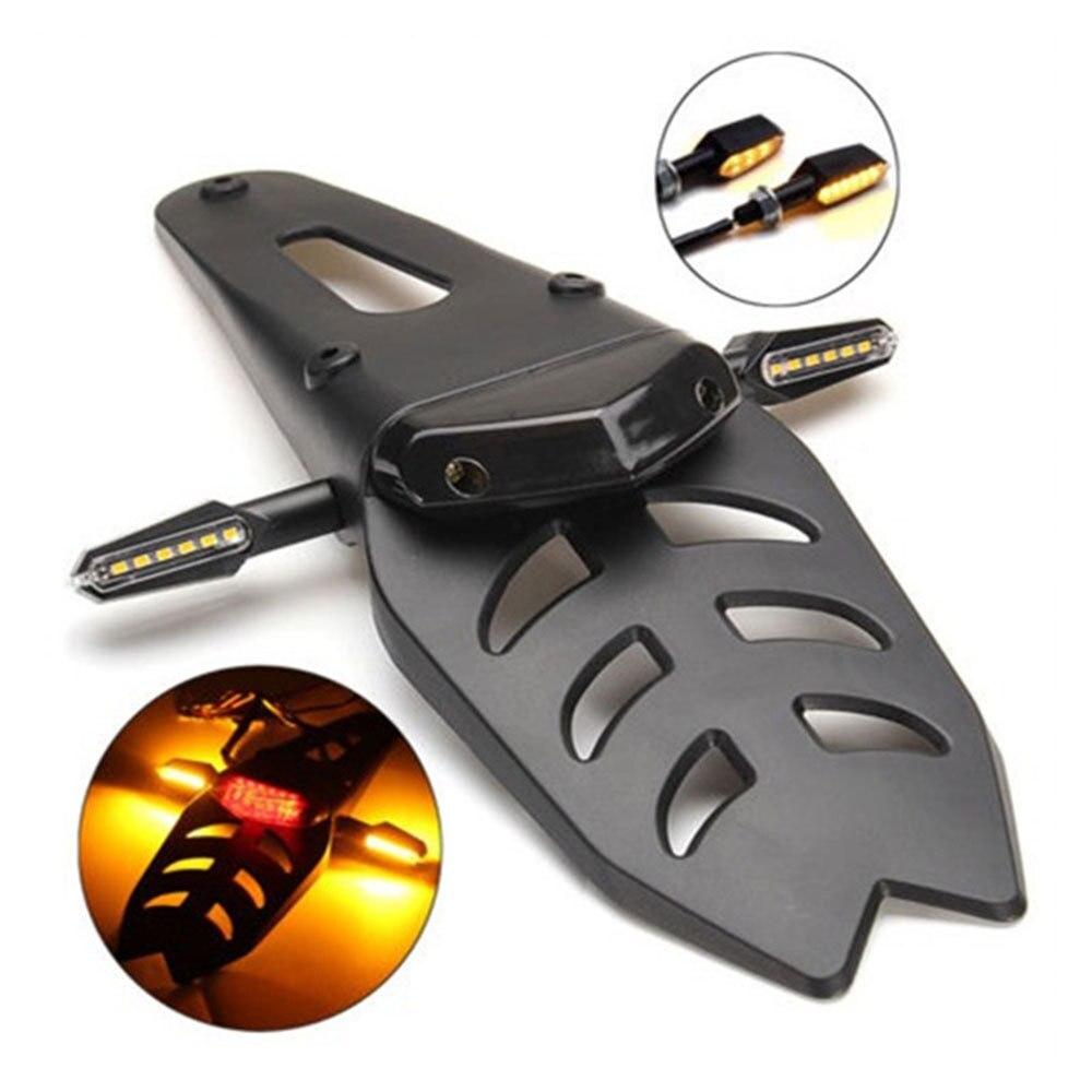 Support de support de plaque d'immatriculation de garde-boue arrière de moto avec la lampe de frein de feu arrière de 12V LED universelle pour l'enduro Motocross offre spéciale