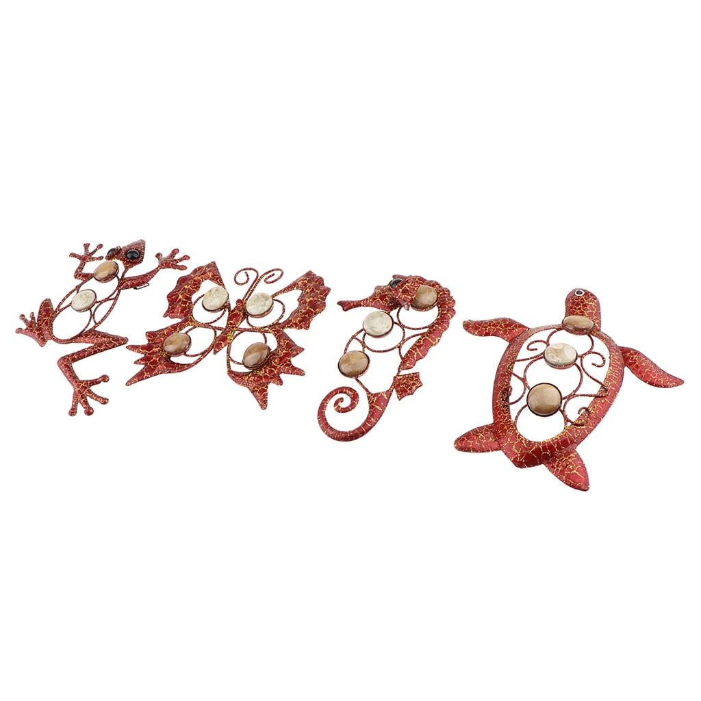 4 Pieces GARDEN 3D METAL GECKO ANIMALS WALL ART ORNAMENT FIGURIE OUTDOOR INDOOR DECOR