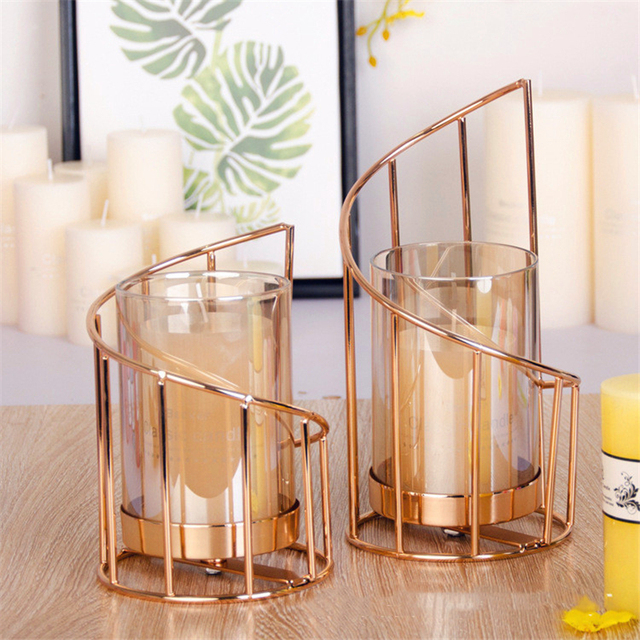 Golden Iron Candle Holder European geometric Candlestick Romantic Crystal Candle Cup Home Decoration Table Decoration 1