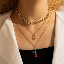 Tocona collana con ciondolo a fiori di rosa rossa della boemia per ciondoli da donna lettera G maglione multistrato collare per gioielli 16873
