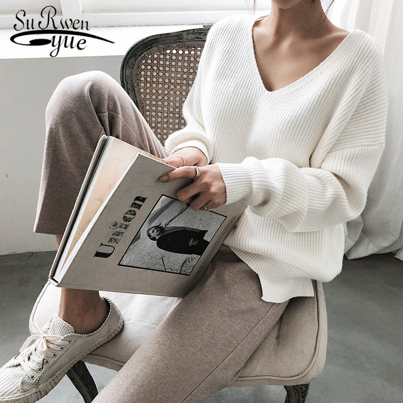 2019 New Fashionable Korean Style Casual Pullover Autumn Winter Women's Sweaters V-Neck Minimalist Tops Knitting Solid 7290 50