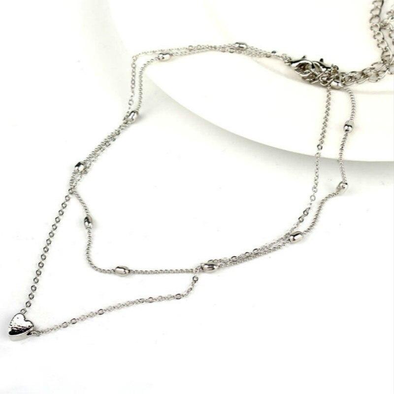 Женское Ожерелье золотого цвета, ювелирное изделие, ожерелье с сердечком и подвесками, чокер с двойной цепочкой, ожерелье с воротником, женское ювелирное изделие, подарок - Окраска металла: silver