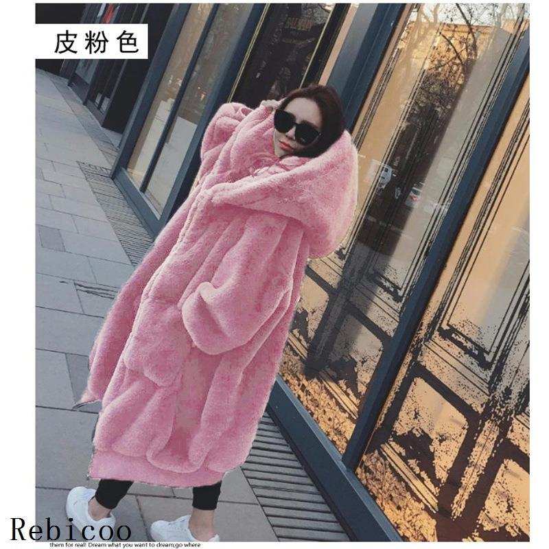 Oversized Winter Faux Fur Coat Women Parka Long Warm Faux Fur Jacket Coats Hoodies Loose Winter Coat Outwear Casaco Feminino