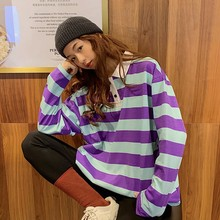 Autumn&Winter New Loose Striped Pullover Sweatshirt Strange Girl Long sleeve Casual Section