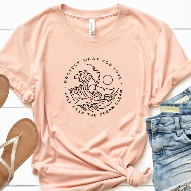 Help Keep The Ocean Clean Graphic Tees Women Protect What You Love Slogan Tshirt Save Whales T-shirt Girls Cotton Tops Drop Ship