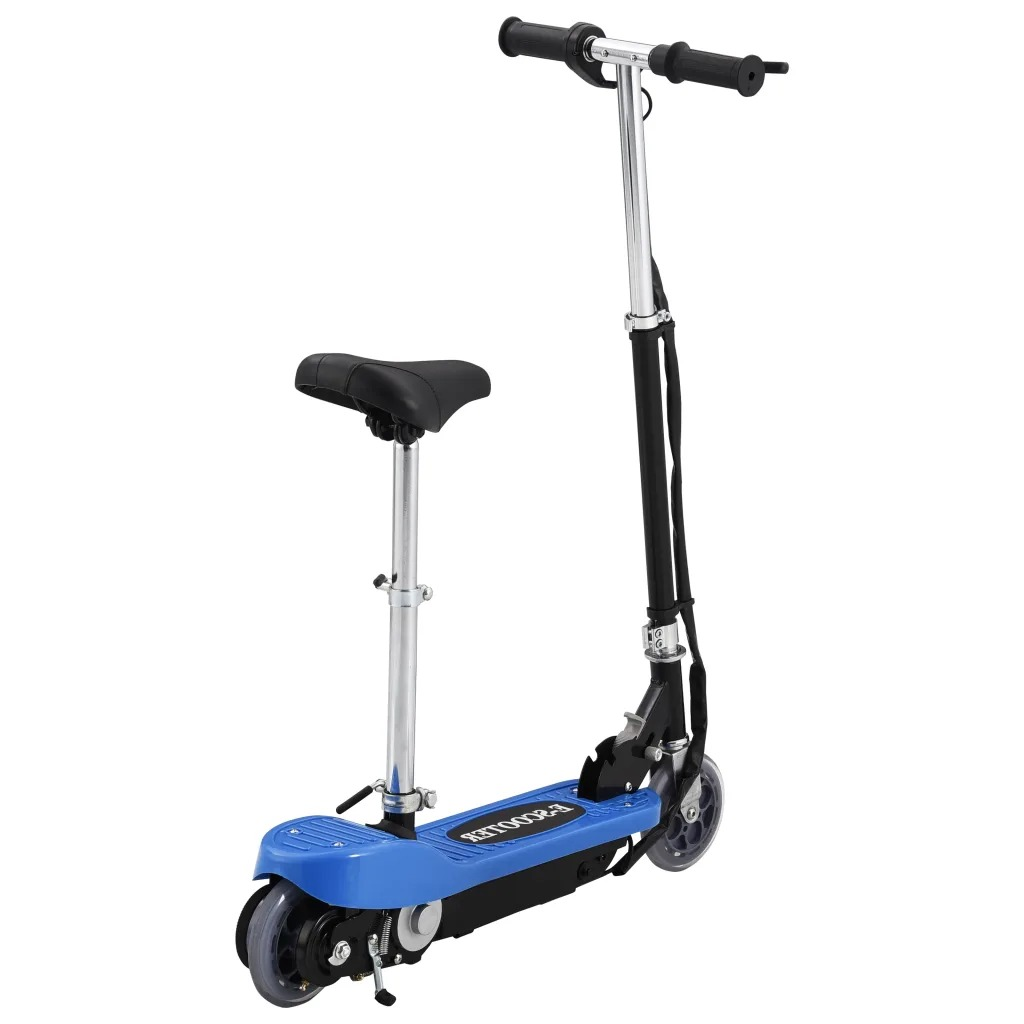VidaXL 12 Km/H Electric Scooter With Seat 120W Blue For Children 6 Years Adjustable Handlebar And Seat Height Sport Scooter