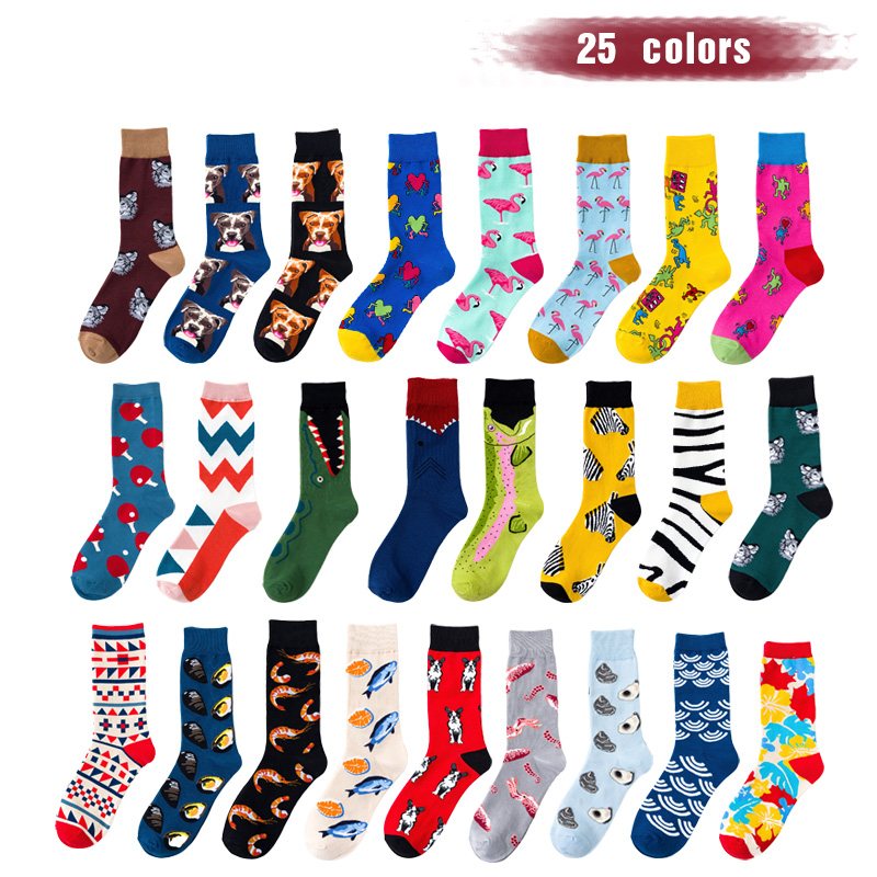 New Fashion Funny Socks Men Combed Cotton With Pattern Colorful Happy Socks Flamingo Beagle Animal Novelty Gift Sokken