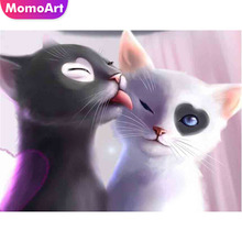 MomoArt Cat Diamond Embroidery Cartoon Painting Full Square/round Stones Mosaic Patches Weeding Decoration
