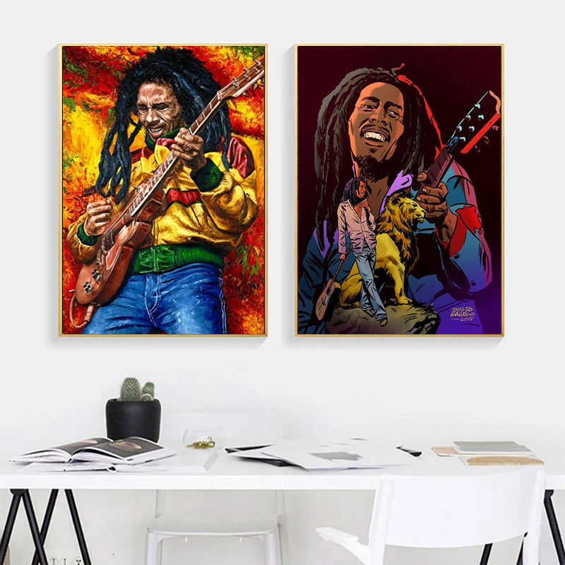 Superstar Bob Marie Legend Reggae Music Cartoon Posters and Canvas Prints Art Images on the Walls Living Room Decoration