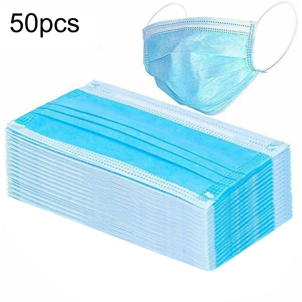 50pcs Non Woven Disposable Face Mask 3 Layer Nonwove Ply Filter Mouth Masker Dental Earloop Activated Carbon Anti-Dust Masks