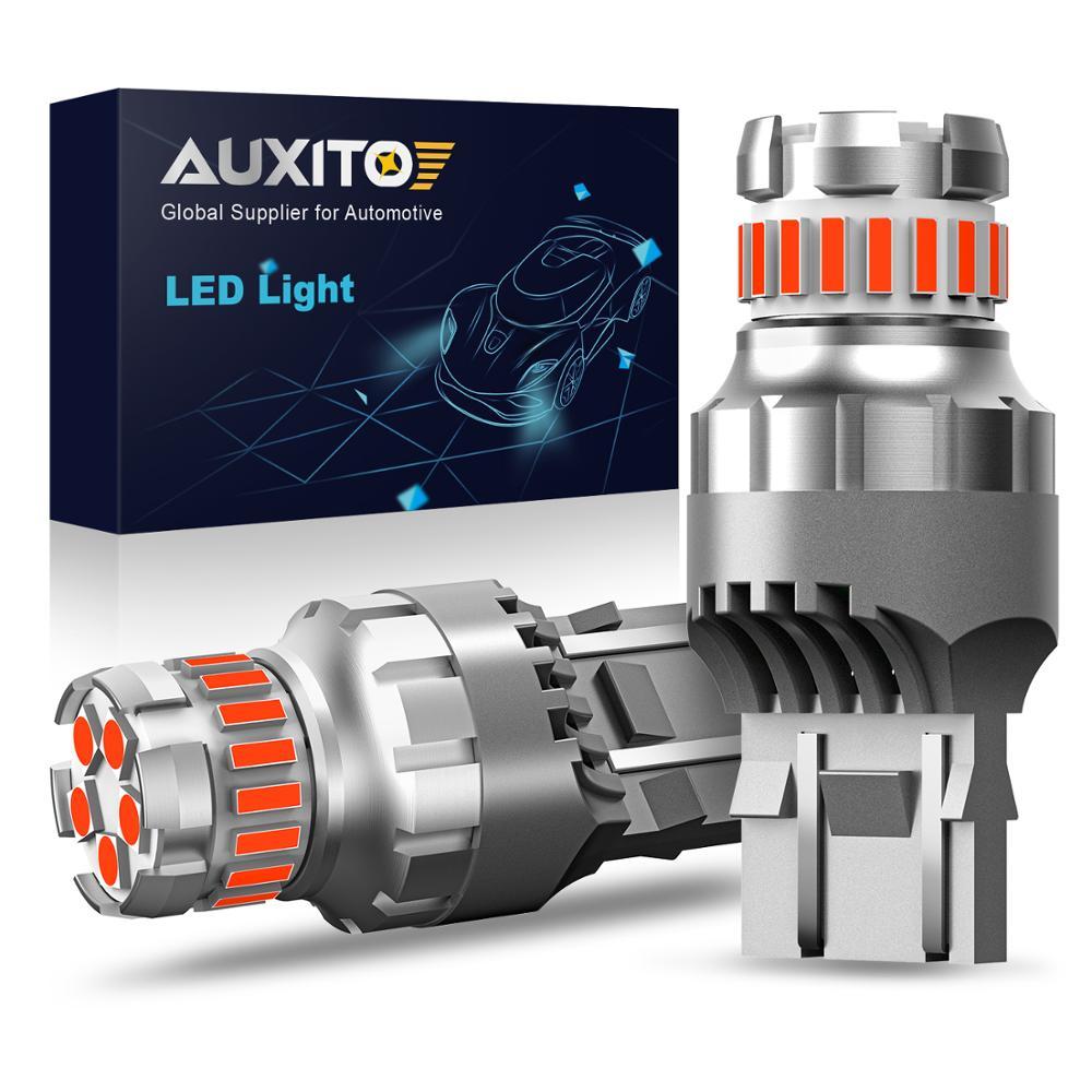 AUXITO 2x T20 7443 SRCK W21/5W WY21W светодиодная вспышка Canbus, стробоскоп, автомобильный стоп-сигнал, лампа стоп-сигнала, лампа заднего хода, белая, красная ...
