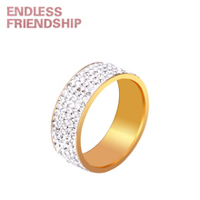 Endless Friendship Fashion Gold Crystal Woman Rings Wide Stud for women Jewelry anillos mujer Party gift