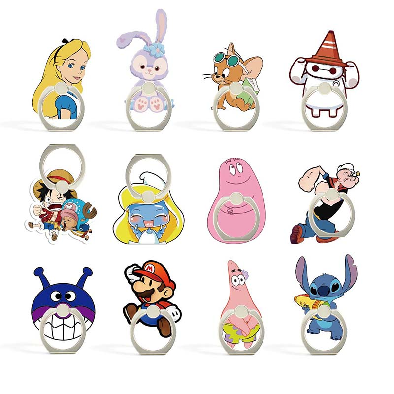 12 Styles Cartoon Princess And Animals Phone Holder Ring Mobile Phone Stand Cookies Finger Phone Ring Holder Support Celular