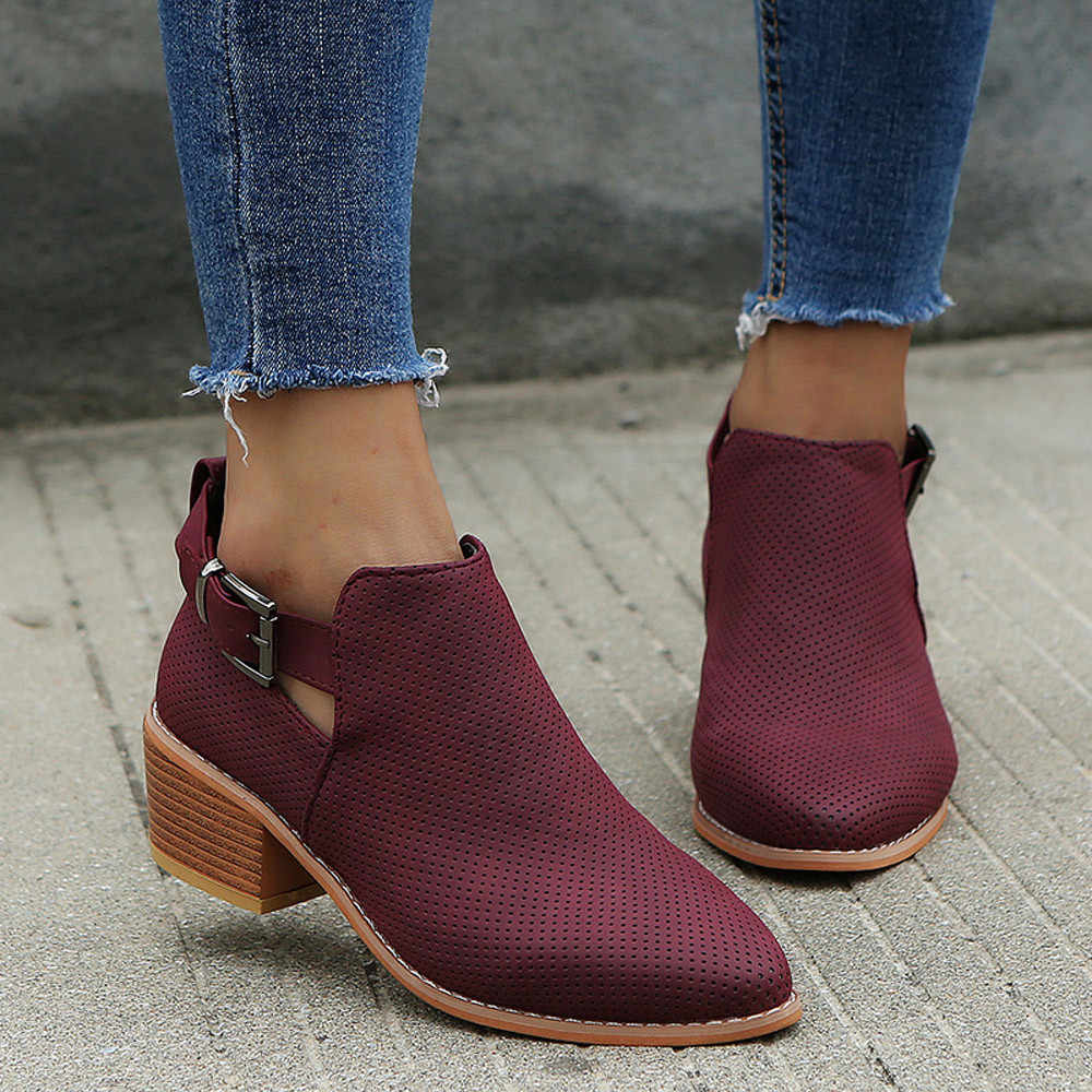 CYSINCOS Winter Boots Womens Boot Casual Ladies Shoes Boots Suede Leather Buckle Boots High Heeled Zipper Snow Shoes For Femme