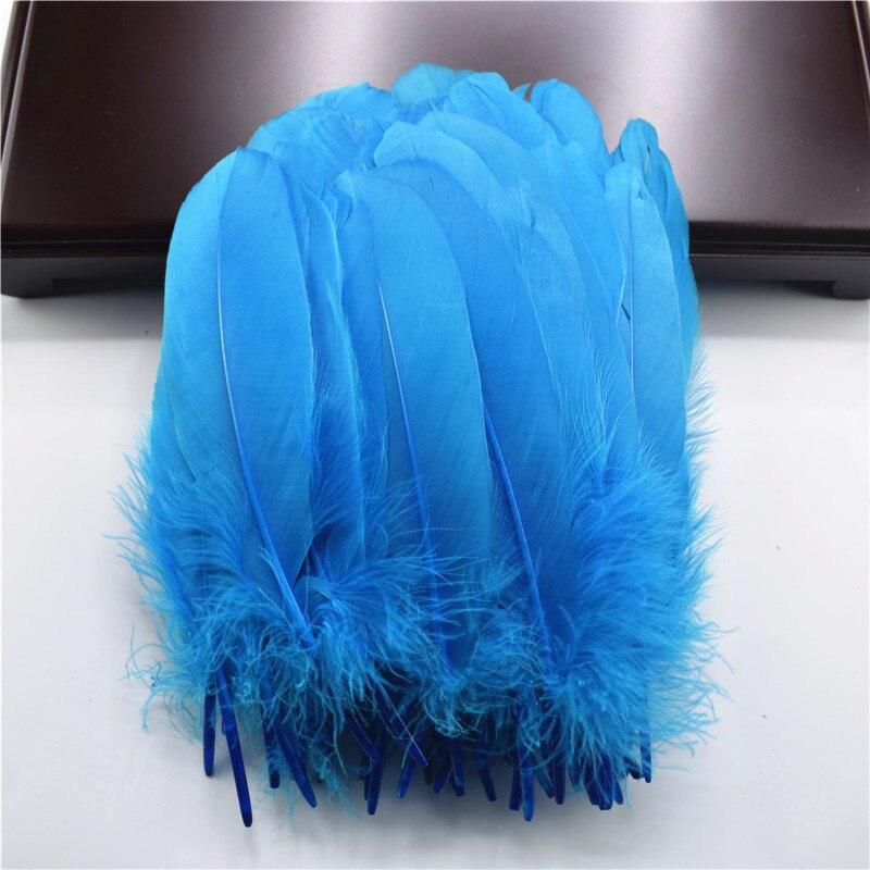 Жесткий полюс, натуральные гусиные перья для рукоделия, 5-7 дюймов/13-18 см, самодельные ювелирные изделия, перо, свадебное украшение для дома - Цвет: Blue