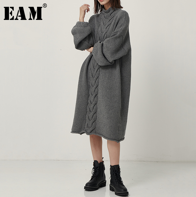 [EAM] Women Gray Knitting Big Size Long Dress New High Collar Long Sleeve Loose Fit Fashion Tide Spring Autumn 2019 1D402