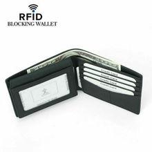 цена на Men Slim Carbon Fiber Credit Card Holder RFID Blocking Leather Wallet Money Clip Cowhide Leather Wallet