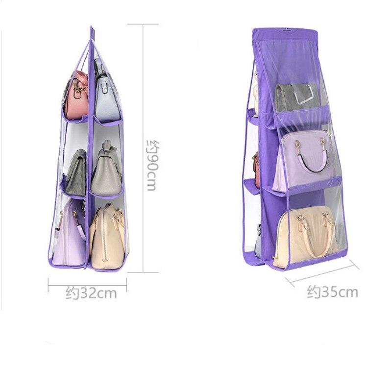 6 Pocket Hanging Handbag Organizer for Wardrobe Closet Transparent Storage Bag Door Wall Clear Sundry Shoe Bag with Hanger Pouch 5