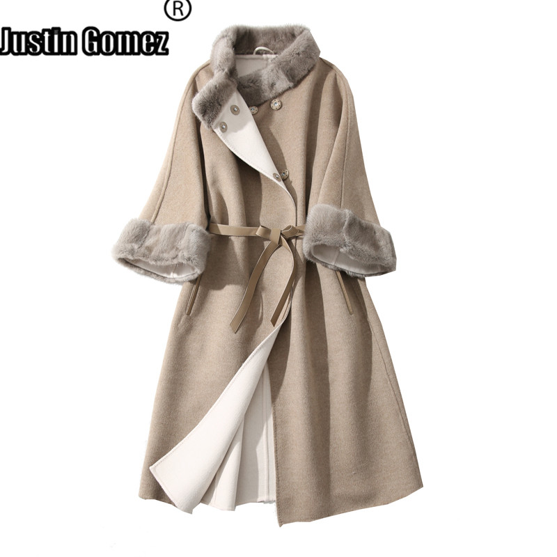 High Fashion Real Mink Fur Double-sided Wool Coat Warm Belted Long Coats For Winter For Women Female 2019 Autumn New Korean Coat