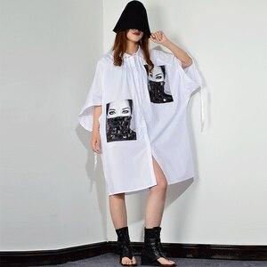 Image 4 - [XITAO] فستان بطبعة مطرزة بمقاسات كبيرة للنساء بياقة مقلوبة مُزين برسومات واحدة ملابس للنساء 2019 جديد XJ1509