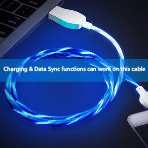 Световой мобильный micro USB / C интеллигентая (ый) для зарядки и передачи данных кабель освещения led оптимизировать светящийся плоский кабель Мобильный телефон общий