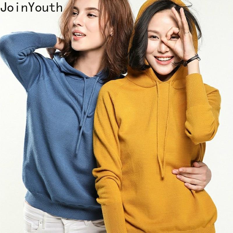 JoinYouth Hooded Solid 2019 Auutmn Winter Sweatshirt Knitted Women Fashion Korean Hoodies Loose Pull Femme Sudadera Mujer J022