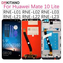Dla HUAWEI Mate 10 Lite wyświetlacz LCD ekran dotykowy z ramką dla Huawei Mate 10 Lite wyświetlacz LCD Nova 2i RNE-L21 wymiana tanie tanio DRKITANO Pojemnościowy ekran Nowy 2160*1080 3 RNE L01 L03 L21 RNE-L02 RNE-L22 RNE-L23 Mate10 Lite 10Lite LCD i ekran dotykowy Digitizer