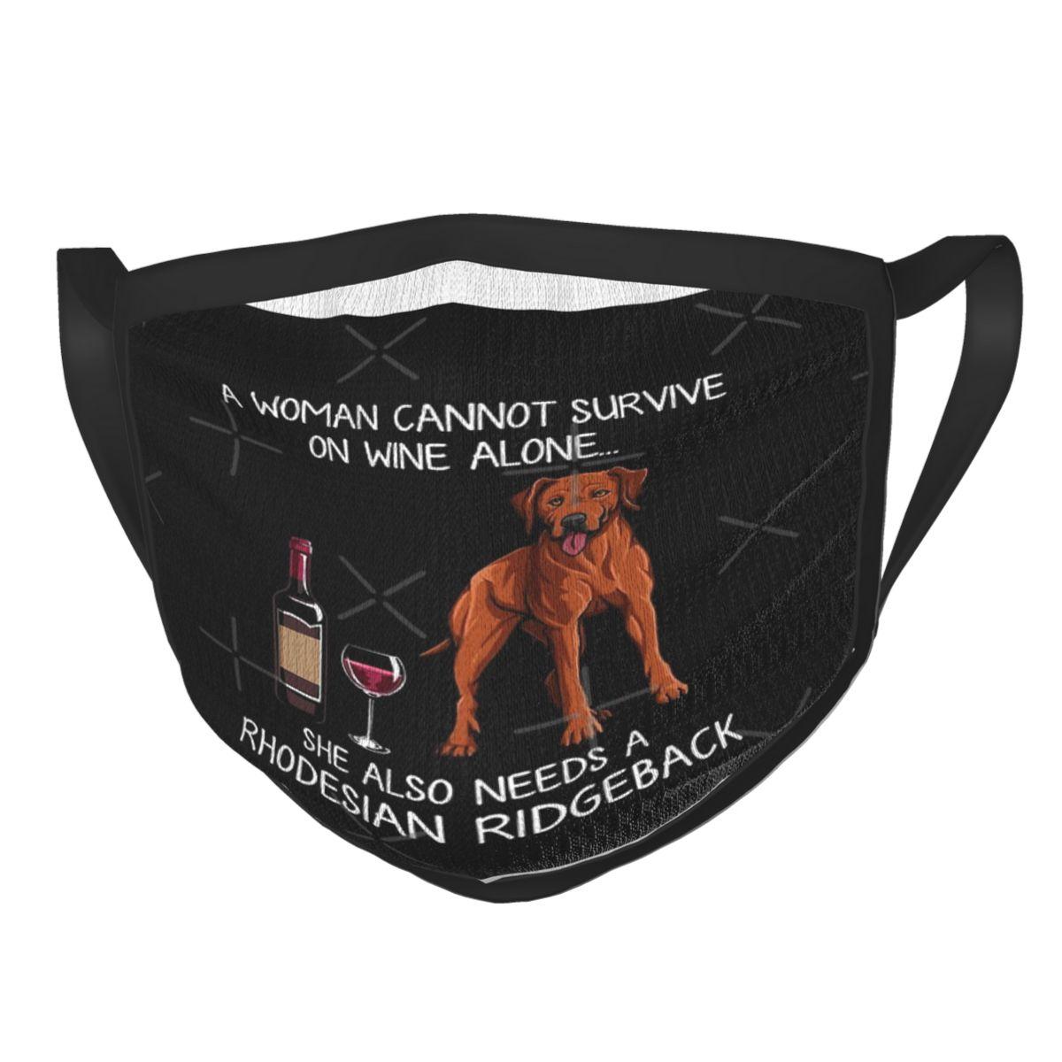 Rhodesian Ridgeback And Wine Funny Dog Hipster Black Border Mask