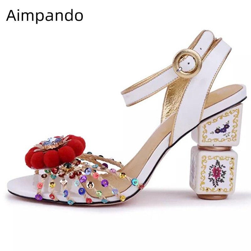 Błyszczące cekiny kryształ Sandały gladiatorki kobiety pompony kwiat kostki pasek z dzianiny buty ślubne letnie buty kobieta w Wysokie obcasy od Buty na AliExpress - 11.11_Double 11Singles' Day 1