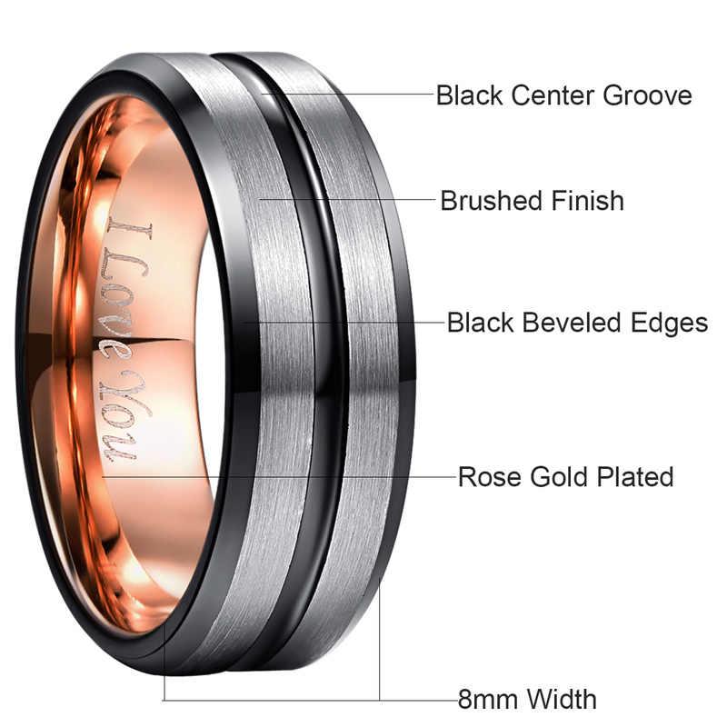 الداخلية روز الذهب الأخدود أنا أحبك خاتم الزواج للرجال النساء الفضة الأسود شطبة متجمد السطح الصلب التنغستن خاتم الخطوبة