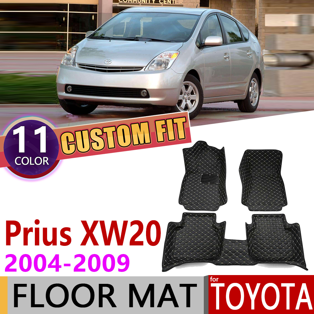 Custom Leather Car Floor Mats For Toyota Prius XW20 XW 20 2004~2009 5Seats Auto Foot Pad Carpet Accessories 2005 2006 2007 2008