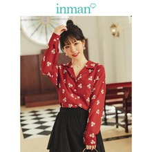 INMAN Spring Autumn Retro Young Girl Literary Turn Down Collar Red Print All Matched Women Blouse