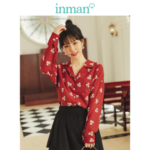 Image 1 - INMAN Spring Autumn Retro Young Girl Literary Turn Down Collar Red Print All Matched Women Blouse