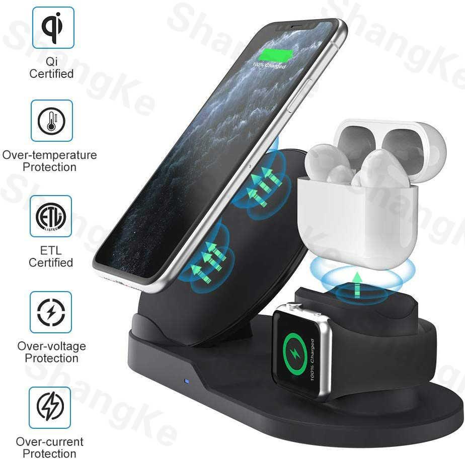 3 Trong 1 Sạc Nhanh Không Dây Dock Trạm Sạc Nhanh Cho iPhone 11 11 Pro XR XS Max 8 Cho đồng Hồ Apple 2 3 4 5 Cho AirPods Pro