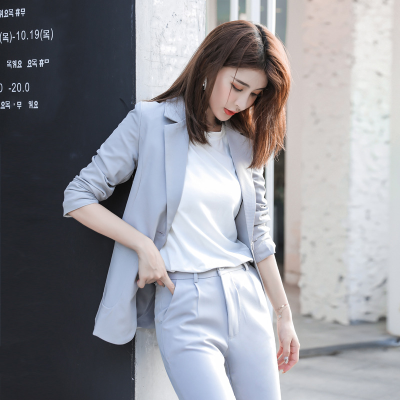 Ladies Suits Autumn And Winter New Professional Wear Long-sleeved Fashion Casual Slim Trousers Women's Two-piece Temperament