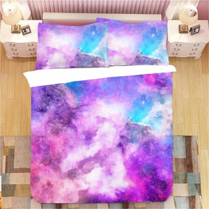 Starry Sky Bedding 2/3 Piece Microfiber Bed Linen Set Duvet Cover Girls Quilt Cover Pillowcase Single Double Galaxy Bedding Sets