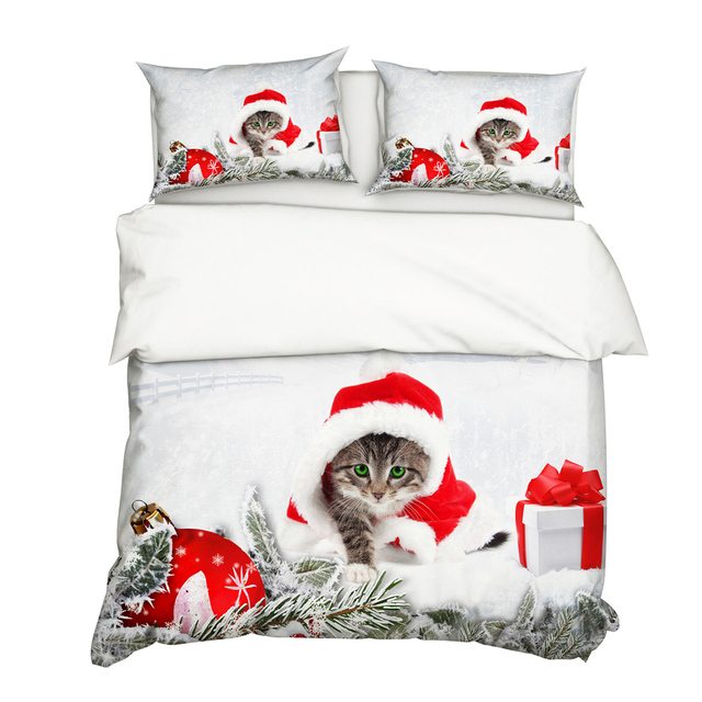 Cute 3D Cat Printed Christmas Comforter Bedding Sets