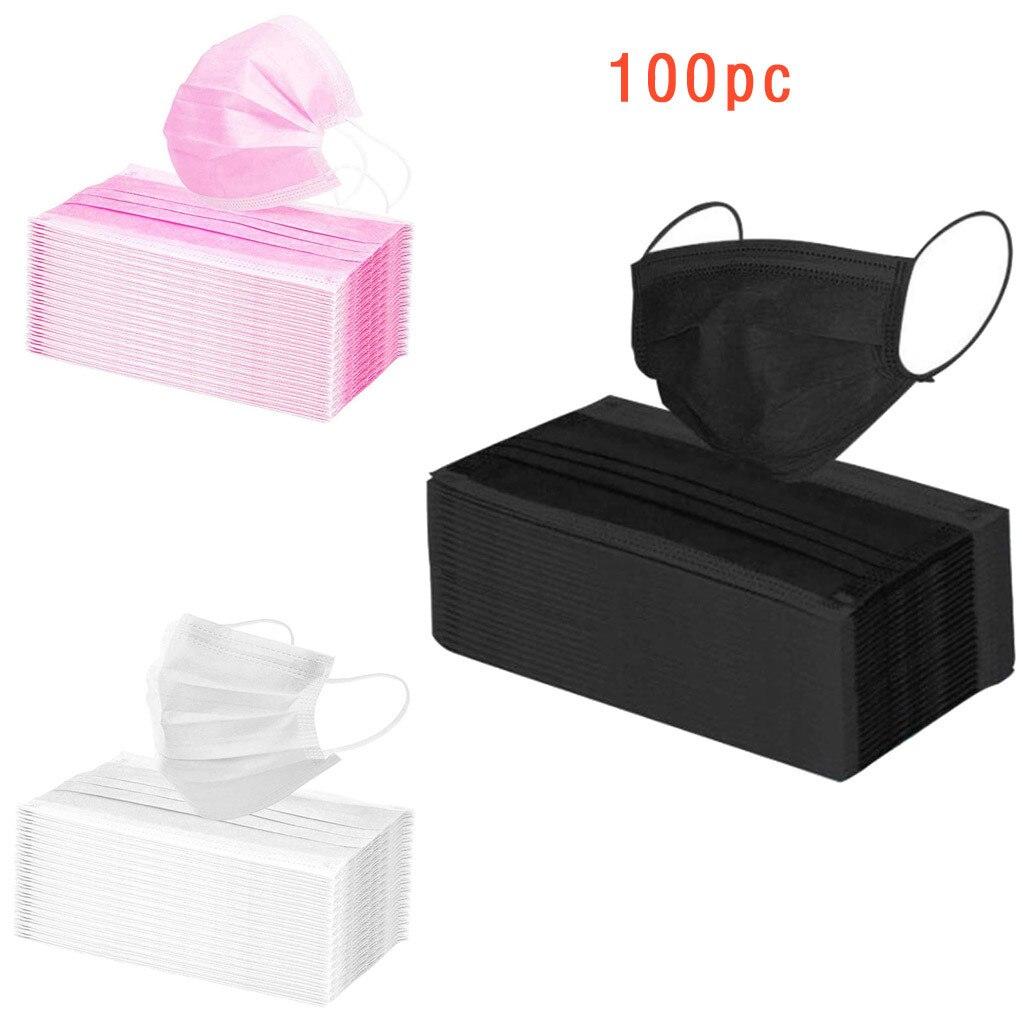 100 Pcs Rosa Descartáveis 3-camada de Tecido Não-tecido Máscara Facial Earband Máscara Com Elástico Respirável Ao Ar Livre Respirável Máscara Boca Adulto