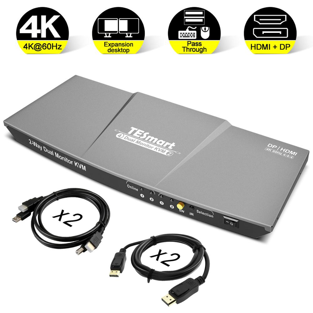 HDMI DP KVM Switch 2 Port Output (HDMI+DP) HDMI KVM Switch 4x2 Dual Monitor DP KVM Switch WIth 4 PCs Cable Up To 4K@60Hz USB 2.0