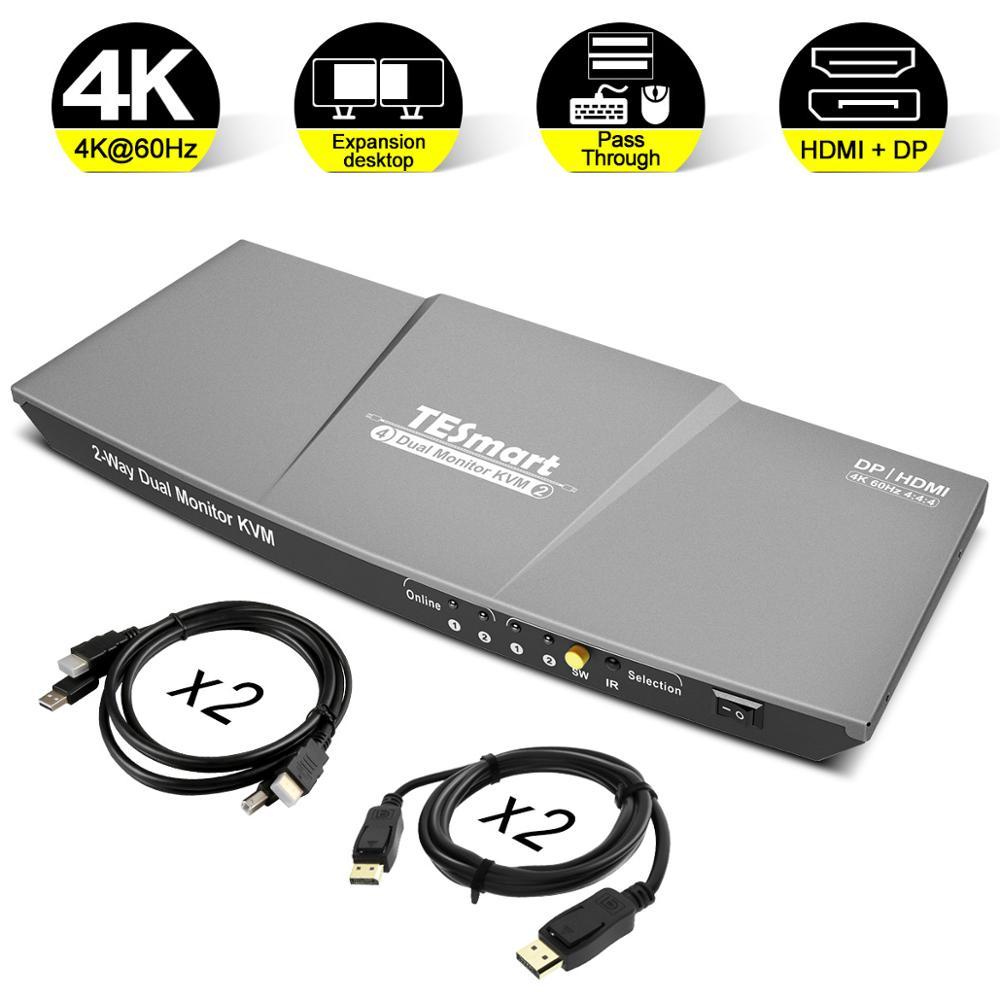 HDMI DP KVM Switch 2 Port Output (HDMI+DP) HDMI KVM Switch 4x2 Dual Monitor DP KVM Switch WIth 4 PCs Cable Up To 4K@60Hz USB 2.0