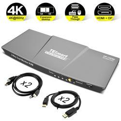 Hdmi Dp Kvm Switch 2 Poort Uitgang (Hdmi + Dp) hdmi Kvm Switch 4X2 Dual Monitor Dp Kvm Switch Met 4 Stuks Kabel Tot 4K @ 60 hz Usb 2.0