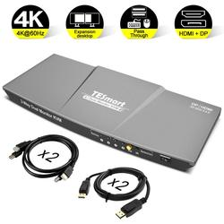 Hdmi Dp Switch Kvm 2 Porta di Uscita (Hdmi + Dp) hdmi Switch Kvm 4X2 Dual Monitor Dp Kvm Switch con 4 Pcs Cavo Fino a 4K @ 60 hz Usb 2.0