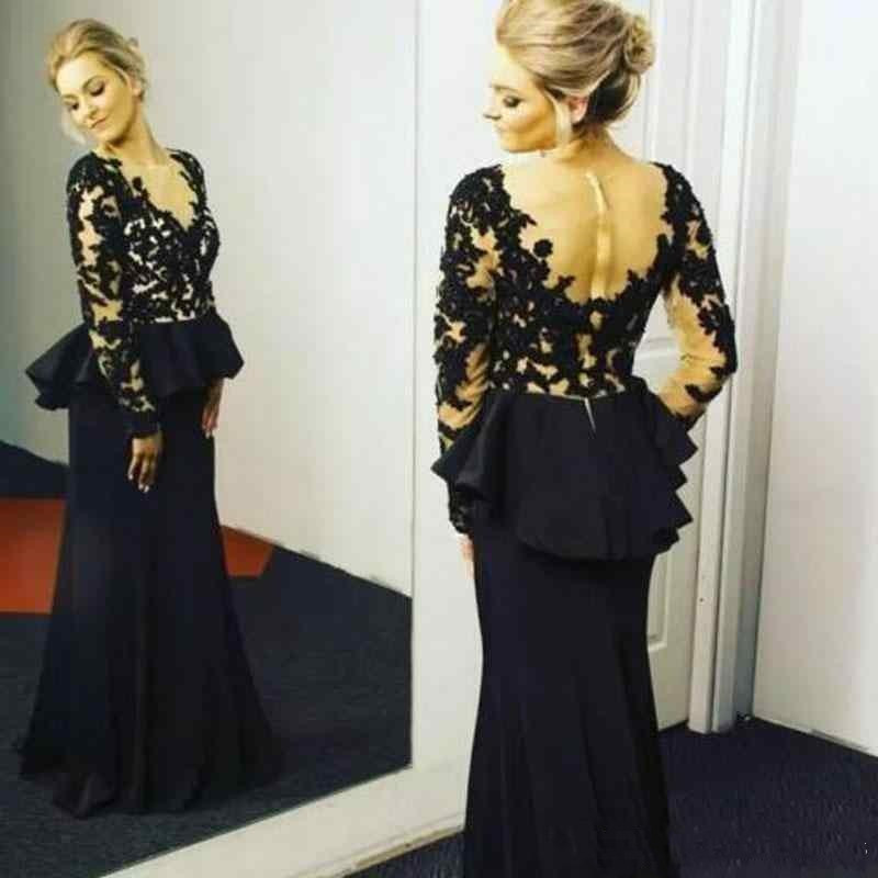 2019 Vintage Black Lace Mother Of The Bride Dresses Vestido De Madrinha Illusion Long Sleeves Backless Ruched Mothers Formal